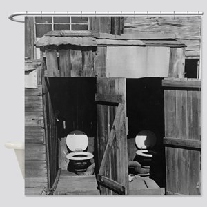 Two Door Outhouse Shower Curtain