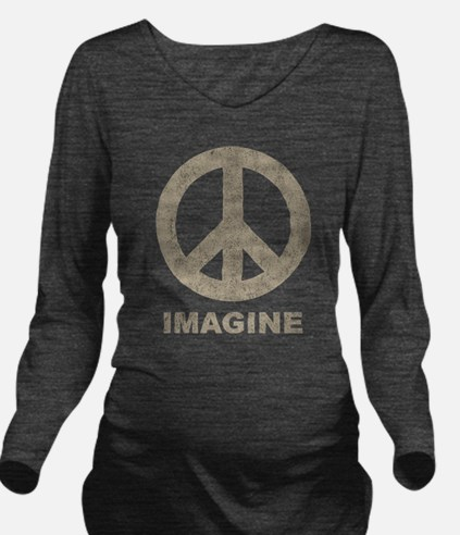 Vintage Imagine Peace Long Sleeve Maternity T-Shir