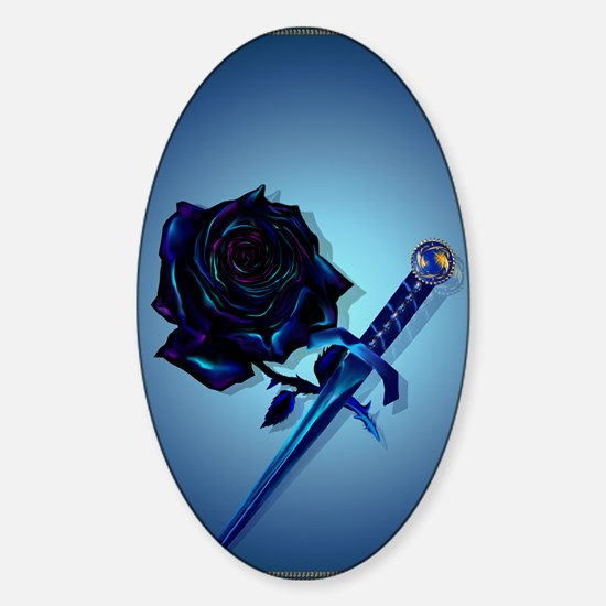 The Black Rose and Dagger_journal Sticker (Oval)