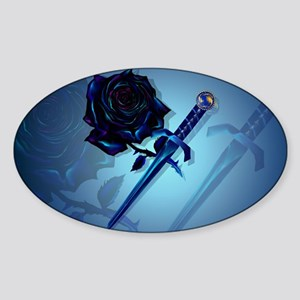 The Black Rose and Dagger-Yardsign Sticker (Oval)