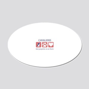 FIN-ckcs-pawprints-CROP 20x12 Oval Wall Decal