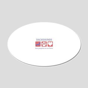FIN-dachshund-pawprints-CROP 20x12 Oval Wall Decal