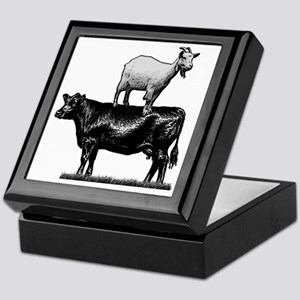 Goat on cow-1 Keepsake Box