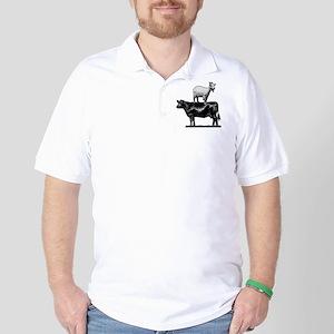 Goat on cow-1 Golf Shirt