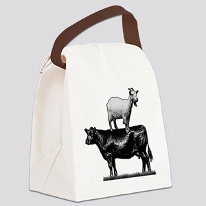 Goat on cow-1 Canvas Lunch Bag