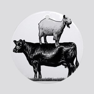 Goat on cow-1 Round Ornament