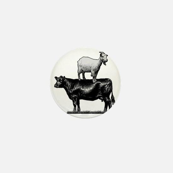 Goat on cow-1 Mini Button