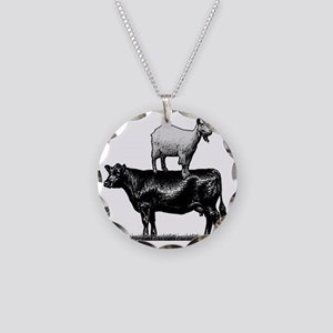 Goat on cow-1 Necklace Circle Charm