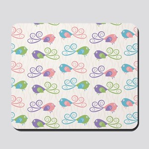 Pastel Bird Pattern Mousepad