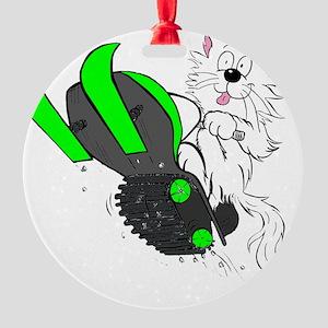 Snowmobile Green II for Dark Appare Round Ornament