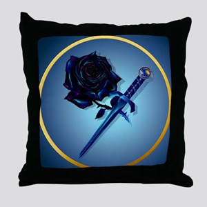The Black Rose and Dagger-Circle Throw Pillow