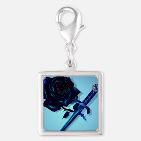 The Black Rose and Dagger Mil Silver Square Charm