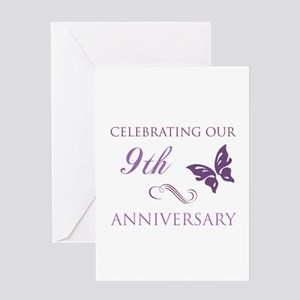 Husband 9th anniversary greeting cards cafepress 9th wedding aniversary butterfly greeting card m4hsunfo