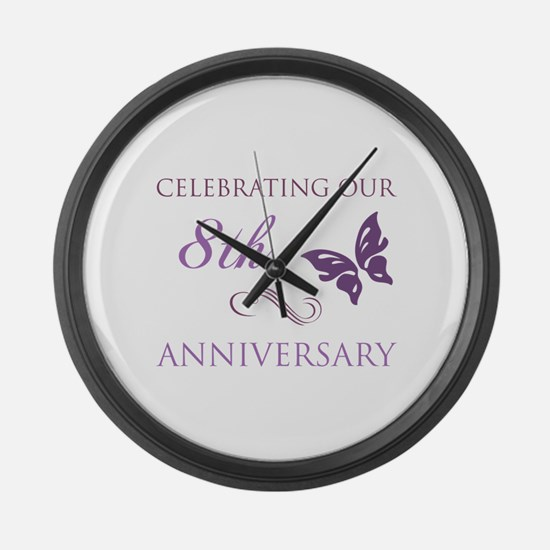 8th Wedding Aniversary (Butterfly) Large Wall Cloc