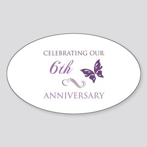 6th Wedding Aniversary (Butterfly) Sticker (Oval)