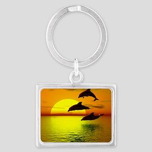 dolphins-sunset Landscape Keychain