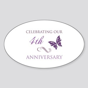 4th Wedding Aniversary (Butterfly) Sticker (Oval)