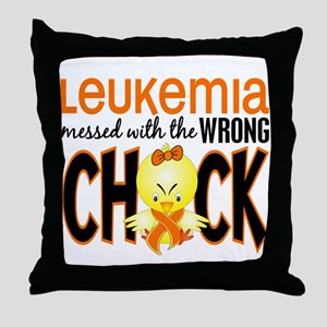 Leukemia Messed With Wrong Chick Throw Pillow