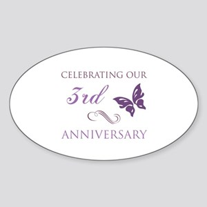 3rd Wedding Aniversary (Butterfly) Sticker (Oval)