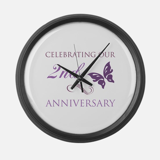 2nd Wedding Aniversary (Butterfly) Large Wall Cloc