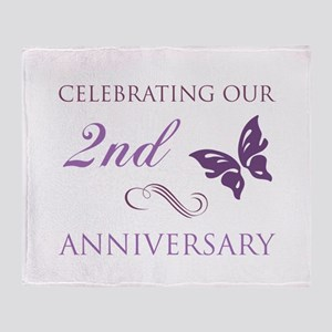 2nd Wedding Aniversary (Butterfly) Throw Blanket