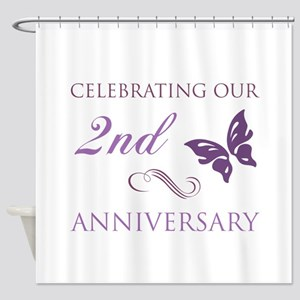 2nd Wedding Aniversary (Butterfly) Shower Curtain