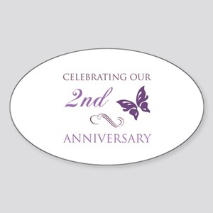 2nd Wedding Aniversary (Butterfly) Sticker (Oval)