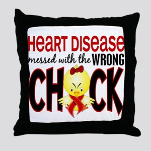 Heart Disease Messed With Wrong Chick Throw Pillow