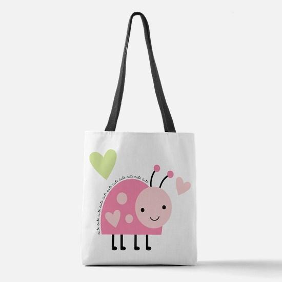 Pink Ladybug Polyester Tote Bag