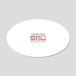 FIN-eskimo-dogs-pawprints-CR 20x12 Oval Wall Decal