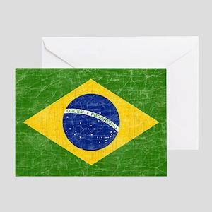 vintage-brazil-flag Greeting Card