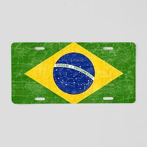vintage-brazil-flag Aluminum License Plate