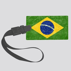 vintage-brazil-flag Large Luggage Tag