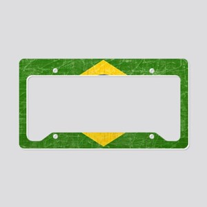 vintage-brazil-flag License Plate Holder