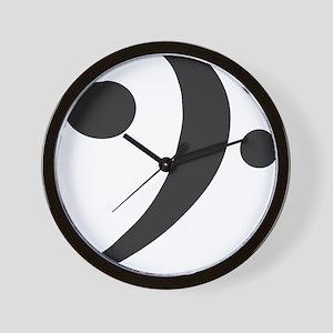 BassClefSilvX3blkRevLtBlk Wall Clock