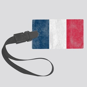 Vintage France Flag Large Luggage Tag
