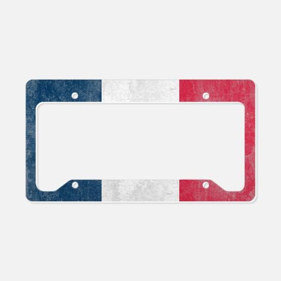 Vintage France Flag License Plate Holder