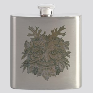 Greenman Carving Flask