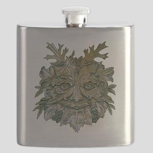 Greenman Carving Flask