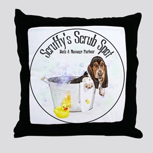 Scruffys Scrub Spot Throw Pillow