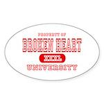 Broken Heart University Oval Sticker