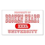 Broken Heart University Rectangle Sticker
