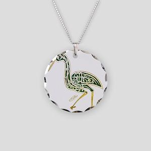 calligraphy bird 02 Necklace Circle Charm