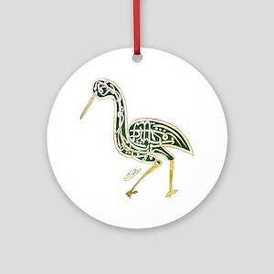 calligraphy bird 02 Round Ornament
