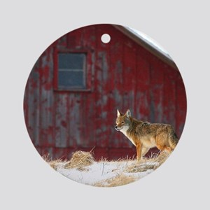coyote barn Round Ornament