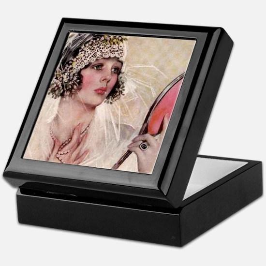 girl w mirror square Keepsake Box