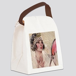 girl w mirror square Canvas Lunch Bag