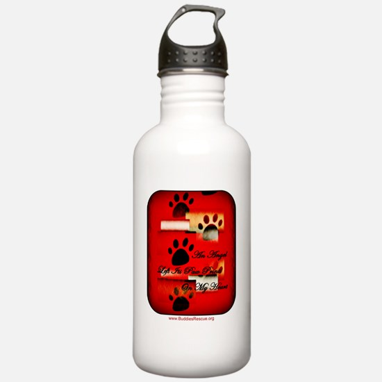 angel_heart_paws_round Water Bottle