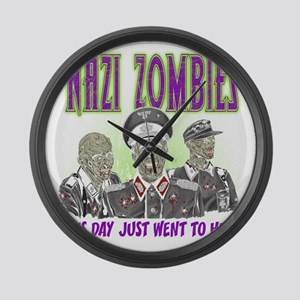 nazi zombies 1 Large Wall Clock