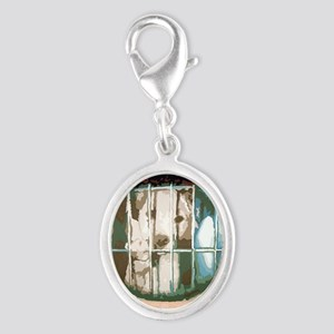 puppys eyes Silver Oval Charm